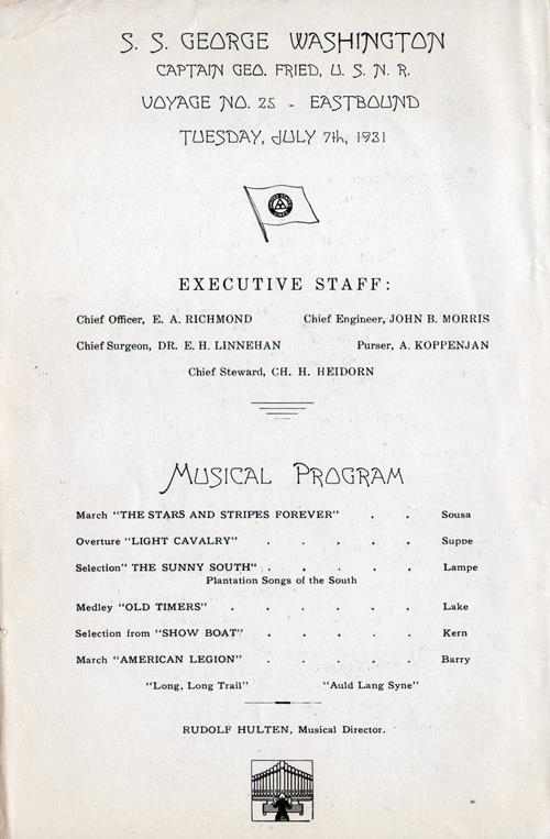 Executive Staff and Musical Program