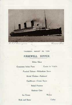 Farewell Dinner Menu - Front Cover