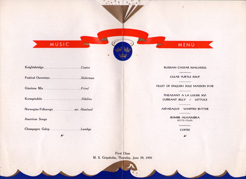 Menu Items and Music Program from 1950