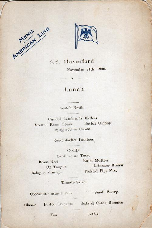 Luncheon Menu, American Line S.S. Haverford, 1908