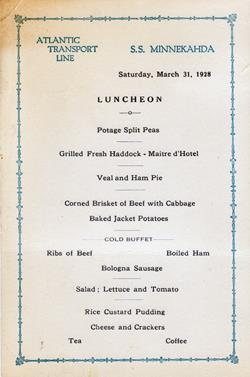Luncheon Menu, Atlantic Transport Line S.S. Minnekahda 1928