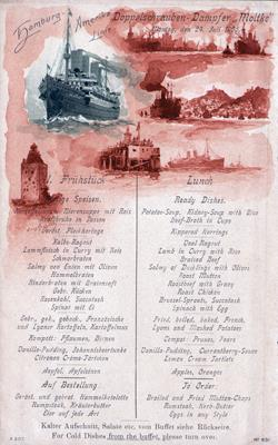 Front, Lunch Menu, S.S. Moltke, Hamburg-American Line, July 1905