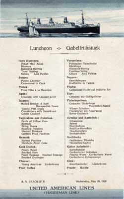 Luncheon Menu, United American Lines S.S. Resolute - 1925