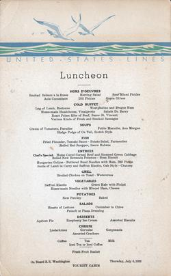 Menu Card, Luncheon on the S.S. Washington 1933