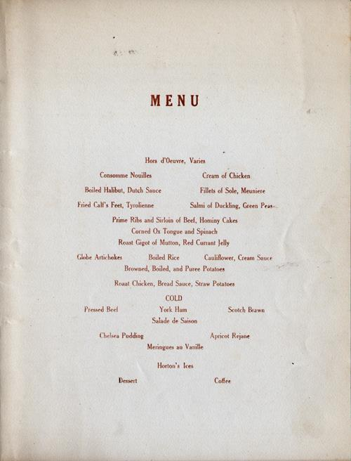 Valentine's Day Dinner Menu, R.M.S. Transylvania, Anchor Line, 14 February 1927 - Menu Selections
