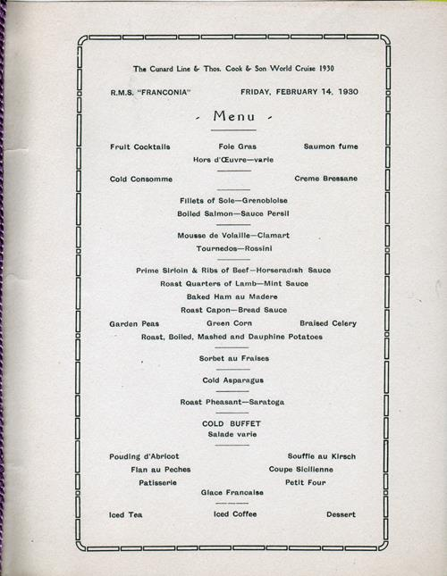 Valentine's Day Dinner Menu, R.M.S. Franconia, Cunard Line, 14 February 1930