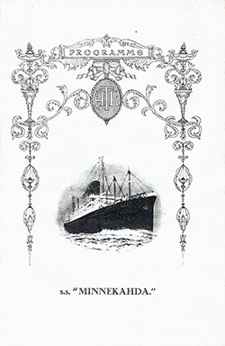 Grand Concert Program, SS Minnekahda, Atlantic Transport Line, 29 July 1928