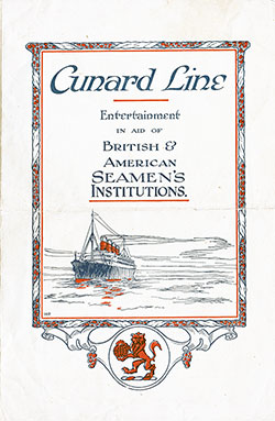 Concert Program on the RMS Aquitania, Cunard Line, 21 August 1924