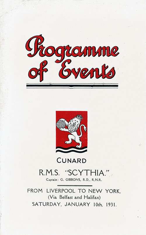 Front Cover, Weekly Social Events Program, S.S. Sythia, Cunard Line, January 1931