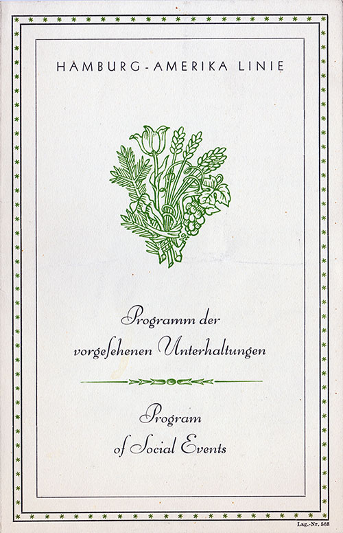 Front Cover, Program of Social Events, SS New York, Hamburg-American Line, July 1933