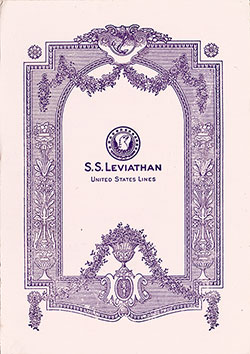 Concert Program, SS Leviathan, United States Lines, 21 June 1928