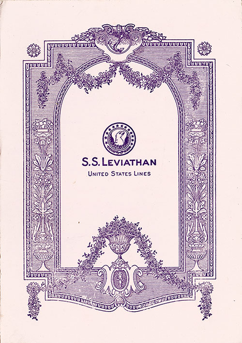 Front Cover, Music Concert Program, S.S. Leviathan, United States Lines, 21 June 1928