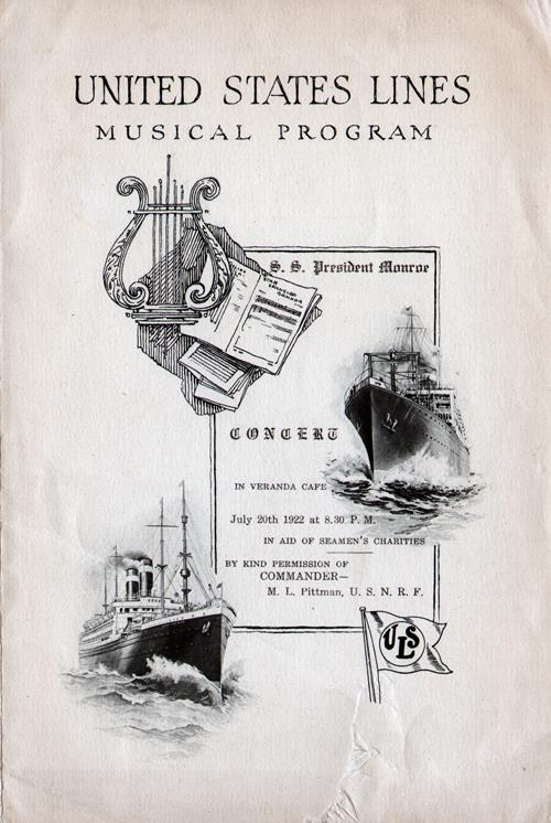 Musical Program, SS President Monroe, United States Lines, July 1922