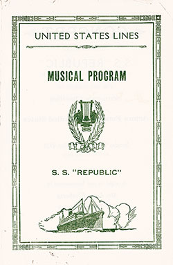 Benefit Music Program, SS Republic, United States Lines, 3 October 1926