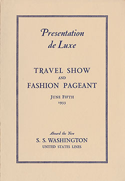 Travel Show and Fashion Pageant Program, S.S. Washington, 5 June 1933