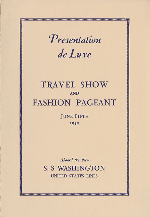 Front Cover, Travel Show and Fashion Pageant Program, SS Washington, 5 June 1933