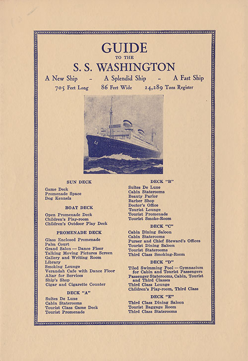 Guide to the SS Washington of the United States Lines