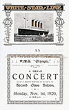 Concert Program, R.M.S. Olympic, White Star Line (1920)