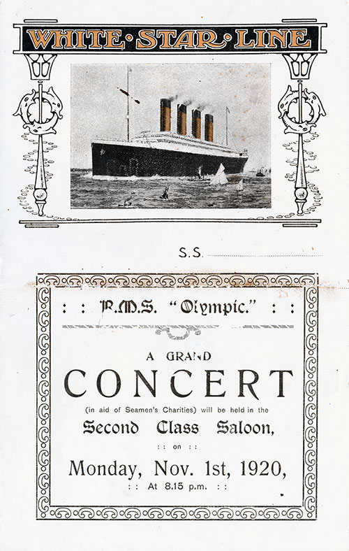 Front Cover, Vintage Concert Program, R.M.S. Olympic, White Star Line, 1920