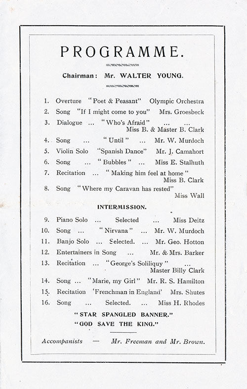 Concert Program, R.M.S. Olympic, White Star Line (1920) | Gg Archives