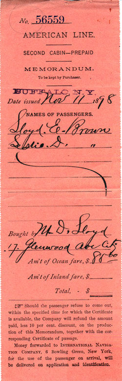 Prepaid Steamship Ticket - Second Cabin - American Line 1898