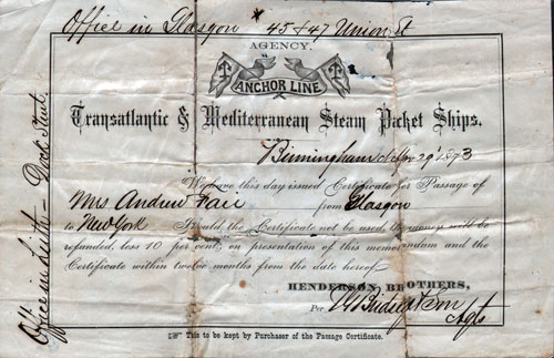 Certificate For Passage - Steamship Ticket, Anchor Line, Glasgow   To New York, 1873