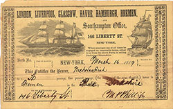 Steamship Ticket for Passage for Mr. Nicholas Fish, 1859