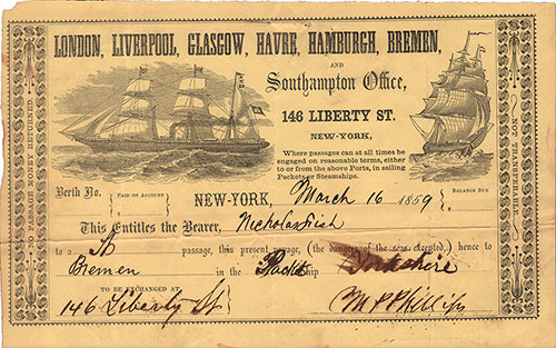 Ticket for Passage on the Packet Ship Yorkshire for Nicholas Fish in 1859