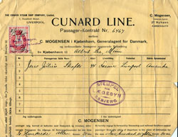 Contract for Passage, Cunard Line, Copenhagen to America 1905