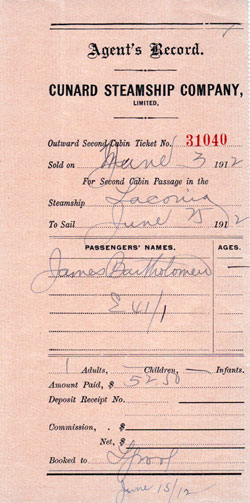 Agent's Record, Cunard Steamship Company, Outward Second Cabin Ticket, 1912