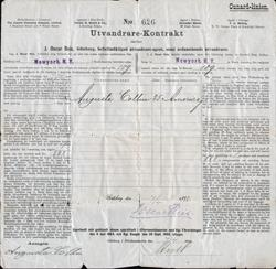 Immigrant Passage Contract - Sweden to New York, Cunard Line Campania 1897