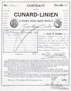 Immigrant Steerage Contract for Passage to New York - Cunard Line - 1913