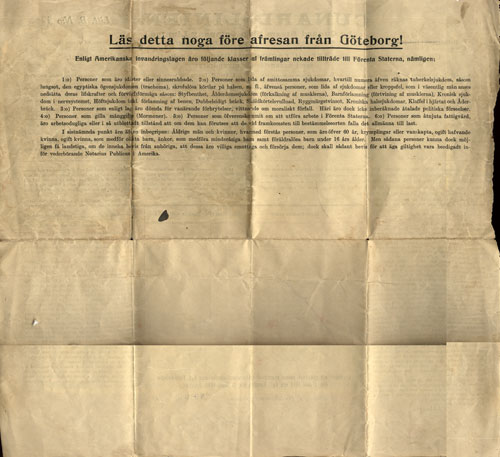 Reverse side of 1914 Immigrant passanger contract with the Cunard Line - In Swedish Only