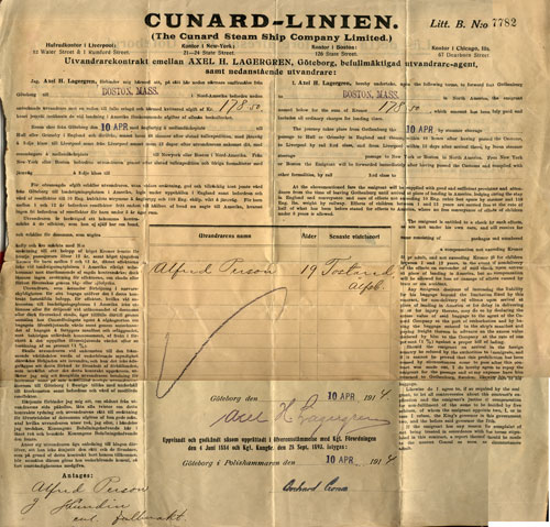 Contract for a Swedish immigrant from Gothenburg to Boston in 1914
