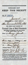 Ticket Recipt for Third Class Passage, Cunard Line, Westbound 1910