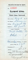 Agent Record of Third Class Outward Steamship Ticket, 1912, Cunard Line S.S. Laconia