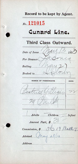 Agents' Record, Third Class Outward Passenger Ticket, Cunard Line 1913