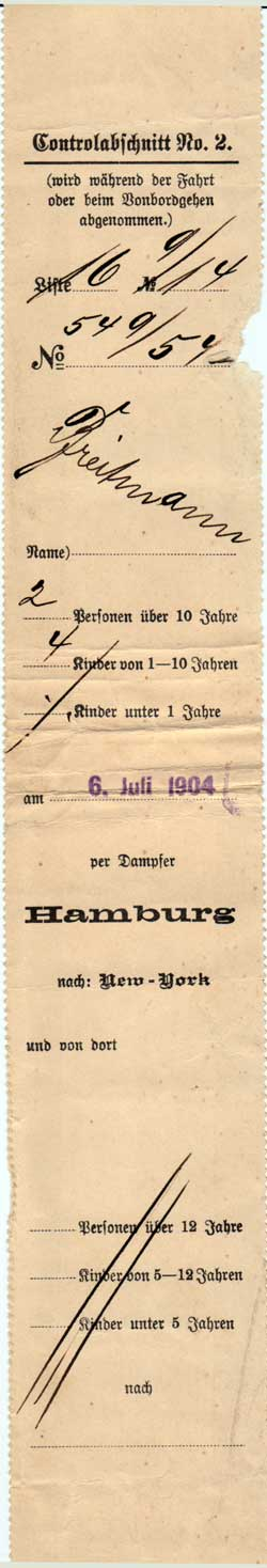 Passenger Contract Receipt 1904