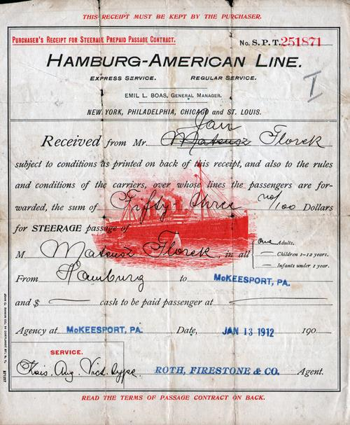 1912 Steerage Prepaid Passage Contract Recipt - Font Side