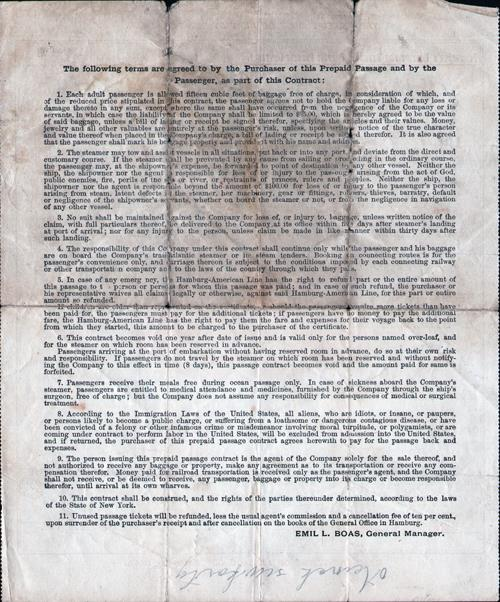 Terms and Condtions to Steeerage Prepaid Passage Contract - 1912