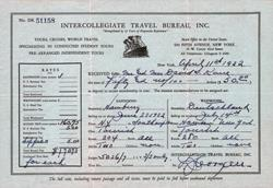 Receipt from Intercollegiate Travel Bureau for Round-Trip Transatlantic Voyages 1932