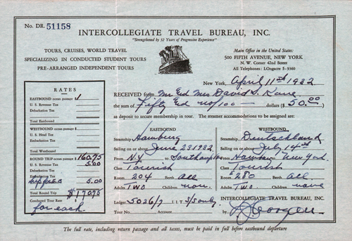 Receipt from Intercollegiate Travel Bureau, 1932