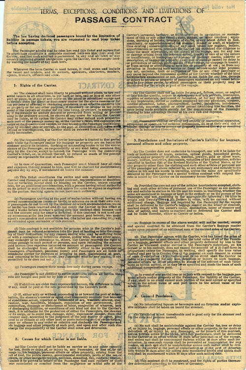 Terms and Conditions of Tourist Class Steamship Contract - 1935