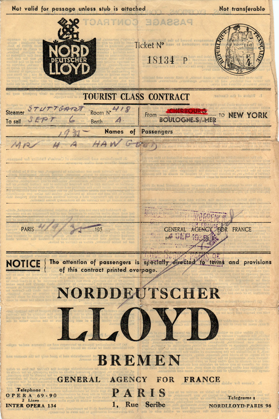 Tourist Class Steamship Contract 1935 Gg Archives