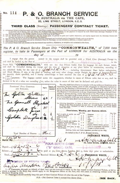 Third Class (Steerage) Passengers' Contract Ticket, P. & O. Line, 1921