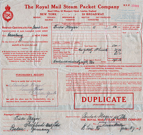 Prepaid Certificate for Second Class Passage - Royal Mail Steam Packet Company - 1923