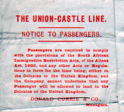 Notice to Passengers of the Union-Castle Line 1910