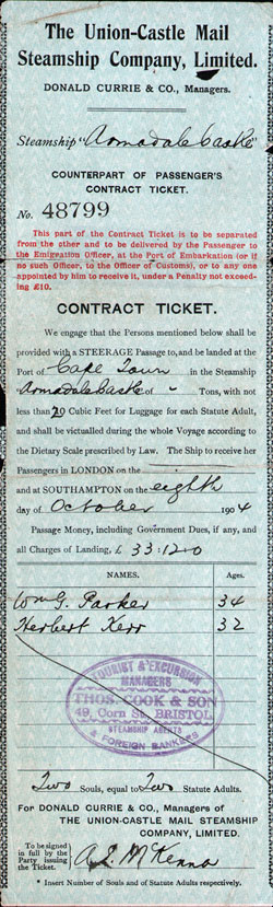 Steamship Ticket Record - Union-Castle Mail Steamship Company, Limited 1904