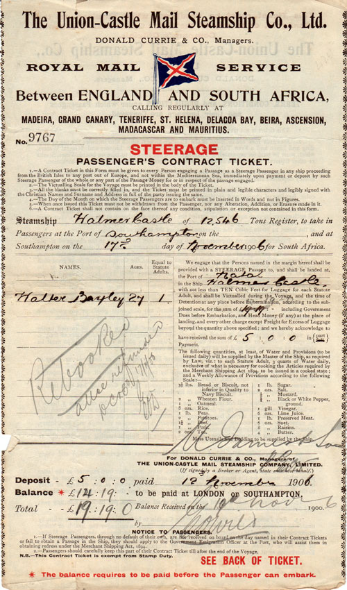 Steerage Passenger's Contract Ticket, Union-Castle Steamship Co. 1906