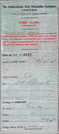 Counterpart to Third Class Passage Ticket (1907